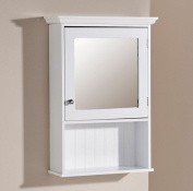 Bathroom Mirror Cabinet White 1 Door Storage Cupboard Over Sink Colonial Tong & Groove