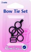 Hemline Bow Tie Fastener Set Black