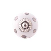 Ceramic Round Door Knob White with Silver Spots