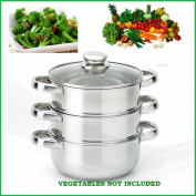 3PC 22CM STAINLESS STEEL STEAMER COOKER POT SET GLASS LID | 3 PAN FOOD COOK ALL NEW