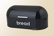 HIGHLANDS AMERICAN STYLE CURVED STEEL ROLL TOP BREAD BIN KITCHEN FOOD STORAGE BLACK