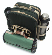 Greenfield Collection Super Deluxe Picnic Backpack Hamper for Two People with Matching Blanket - forest Green