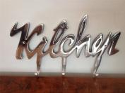 "Large Kitchen utensil Tea Towel Holder Hook Rack 3 Hooks "" KITCHEN "" Hanger Highly Polished Aluminium"