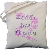 World's Best Granny - Natural Cotton Shoulder Bag - Grandparent's Day Gift