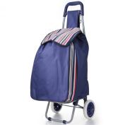 Hoppa folding lightweight shopping trolley shopping bag on wheels (Navy ST90