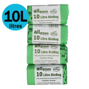 10 Litre x 100 bags All-Green Biobag Compostable 10L Kitchen Caddy Liners - Food Waste Bin Liners - EN 13432 - Compost Bags