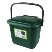 All-Green 5 Litre Plastic Kitchen Compost Caddy, Green
