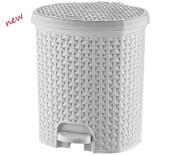 21L Litre RATTAN White Pedal Bin Bathroom Waste Dustbin Kitchen Wicker Effect