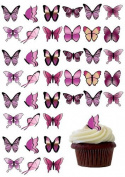 48 X PRE-CUT PINK MIX BUTTERFLY EDIBLE RICE / WAFER PAPER CUP CAKE TOPPERS BIRTHDAY PARTY WEDDING DECORATION