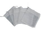 White Reusable Muslin Bags with Draw String for Spice, Herbs, Tea, Mulled Wine, Bouquet Garni Infuser Sieve - 10cm x 15cm