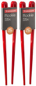 2 x Pairs of Red Plastic Easy To Use (Rookie Stixs) Chopsticks