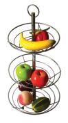 3 Tier Chrome Fruit Vegetable Basket Bowl Steel Wire Rack Stand Storage Holder