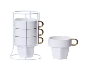 PT Fortune Ceramic Cappuccino Cup Tower, White/ Gold