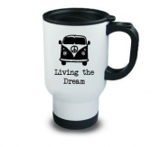 Living the Dream Metal Travel Mug Camper Van Camping Black Hobby Novelty Gift