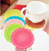 6X Mix Colours Silicon Lace Round Coffee Drink Cup Mat Coasters 9.5cm Diameter