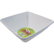 4 x WHITE PLASTIC DISPOSABLE SQUARE SERVING BOWLS - 28cm Great for serving sharing and snacks.