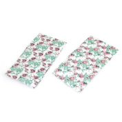 Water & Wood 2 Pcs Pink Green Flower Leaf Prints Shower Cap White for Woman