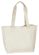Cotton Canvas Zippered Tote Bag
