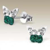 Butterfly Crystal Green and Clear-Sterling Silver