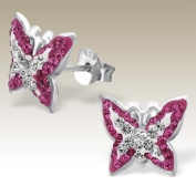 Butterfly Pink and Clear Crystals