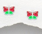 Butterfly - Green and Red - Sterling Silver