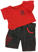Red Tee and Dragon Pants Outfit Fits Most 36cm - 46cm Build-a-bear, Vermont Teddy Bears, and Make Your Own Stuffed Animals
