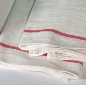 12 NEW HERRINGBONE NON TERRY TOWELS LINT FREE RED STRIPE 100% COTTON