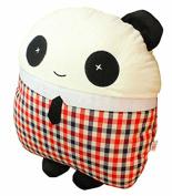 TheWin Red Grid Boy Panda-Shaped Car Cushion
