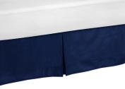 Solid Navy Blue Toddler Bed Skirt for Stripes Collection Kids Boys Bedding Sets