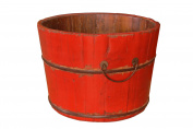 Antique Revival Gota Wooden Bucket, Red
