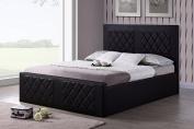Hodedah Leather Bed, Full, Brown