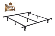 King's Brand Super Strong Heavy Duty Adjustable Metal Queen, Full, Full XL, Twin, Twin XL, Bed Frame With Centre Support, Rug Rollers & Locking Wheels