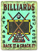 Mancave pool table Sign Billards chalk stick / Funny retro game room wall decor 149
