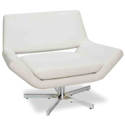 Avenue Six Yield Wide Swivel Chair, White Faux Leather