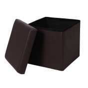 SONGMICS Faux Leather Folding Storage Ottoman Cube Foot Rest Stool Seat 38cm x 38cm x 38cm Brown ULSF10B