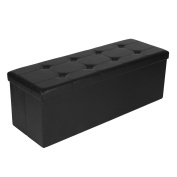 SONGMICS Faux Leather Folding Storage Ottoman Seat Bench Footrest Seat, Black ULSF701
