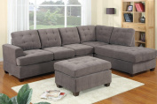 3pc Modern Reversible Grey Charcoal Sectional Sofa Couch with Chaise and Ottoman - Grey Living Room Sectional
