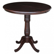 International Concepts 90cm Round Top Pedestal Table with 30cm Leaf, 90cm Counter Height, Rich Mocha