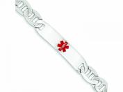 Sterling Silver Polished Medical Anchor Link Id Bracelet