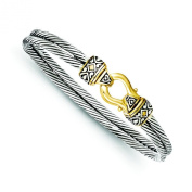 Sterling Silver Gold Plated Antique Double Strand Hook Bangle Bracelet Jewellery