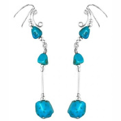 Sterling Silver Left Right Long Dangle Blue Turquoise Stone Nuggets Ear Cuff Wrap Set