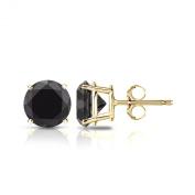 18k Gold Round Black Diamond 4-Prong Basket Stud Earrings (1/4 - 2 ct, Black) Push-Back