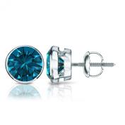 18k Gold Round Blue Diamond Bezel Stud Earrings (1/4 - 2 ct, Blue, I1-I2) Screw Back