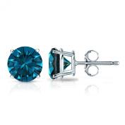 18k Gold Round Blue Diamond Stud Earrings 4-Prong Basket (1/4 - 2 ct, Blue, I1-I2) Push Back