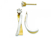 14k and Rhodium J-hoop with Cz Stud Earring Jackets