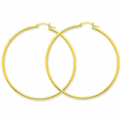 10K Gold Polished Round Hoop Earrings Jewellery 50 x 2mm