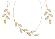 NanoStyle - Leaf Jewellery Set - Pearl Polymer Clay Necklace and Drop Earrings - Bridal Pendant