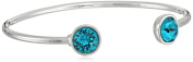 Oroclone Silver Plated 10mm Blue Zircon. Crystal December Bangle Bracelet, 2.25""