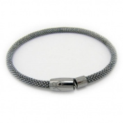 Sterling Silver Faceted Flexible Diamond-Cut Magnetic Clasp Mesh Bracelet Italy