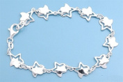 "10 mm Designer Inspired ""Luxury Cute Double Star Fancy Design"" Charms Italian .925 Sterling Silver Bracelet-Anklet **includes (1) FREE Silver Polishing & Cleaning Cloth**"